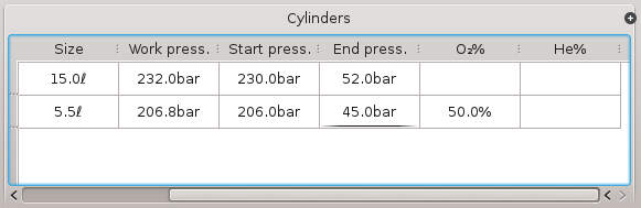 FIGURE: a completed cylinder dive information table